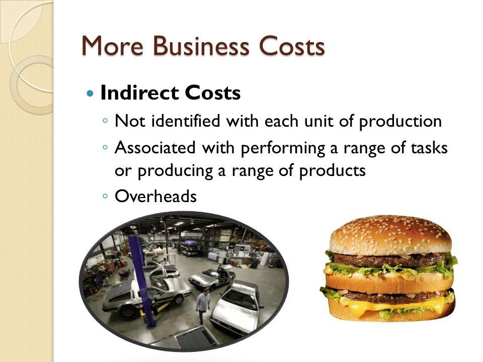 More Business Costs Indirect Costs