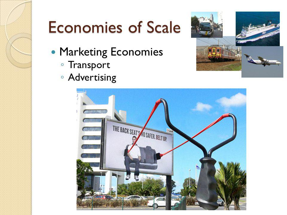 Economies of Scale Marketing Economies Transport Advertising