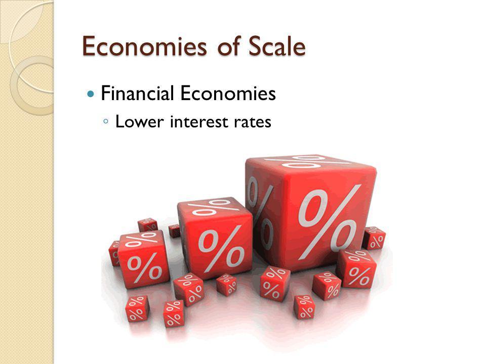 Economies of Scale Financial Economies Lower interest rates