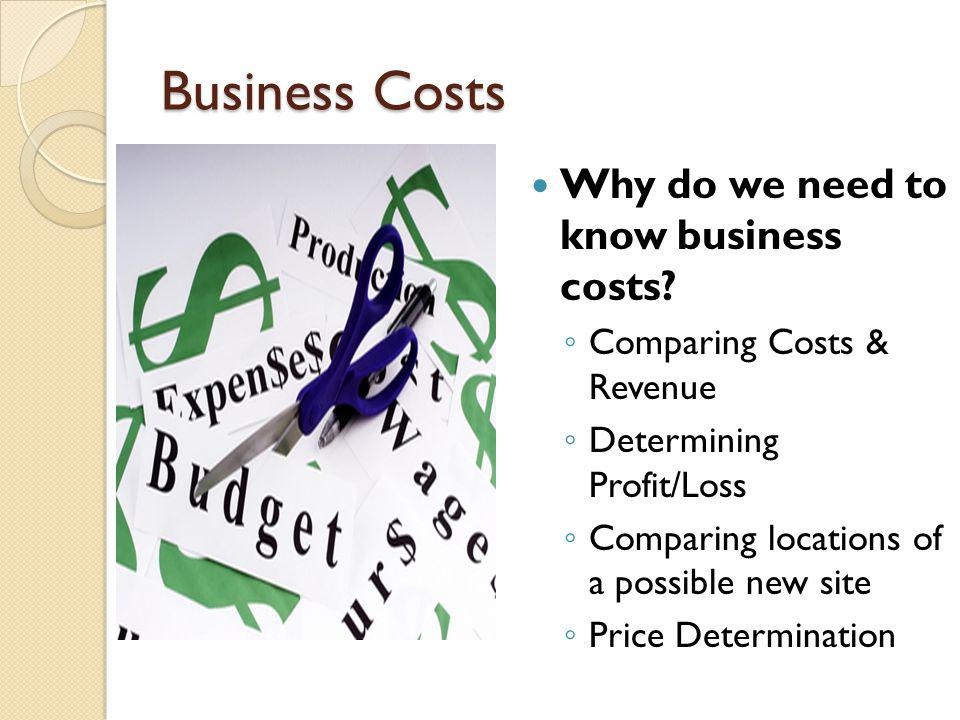 Business Costs Why do we need to know business costs