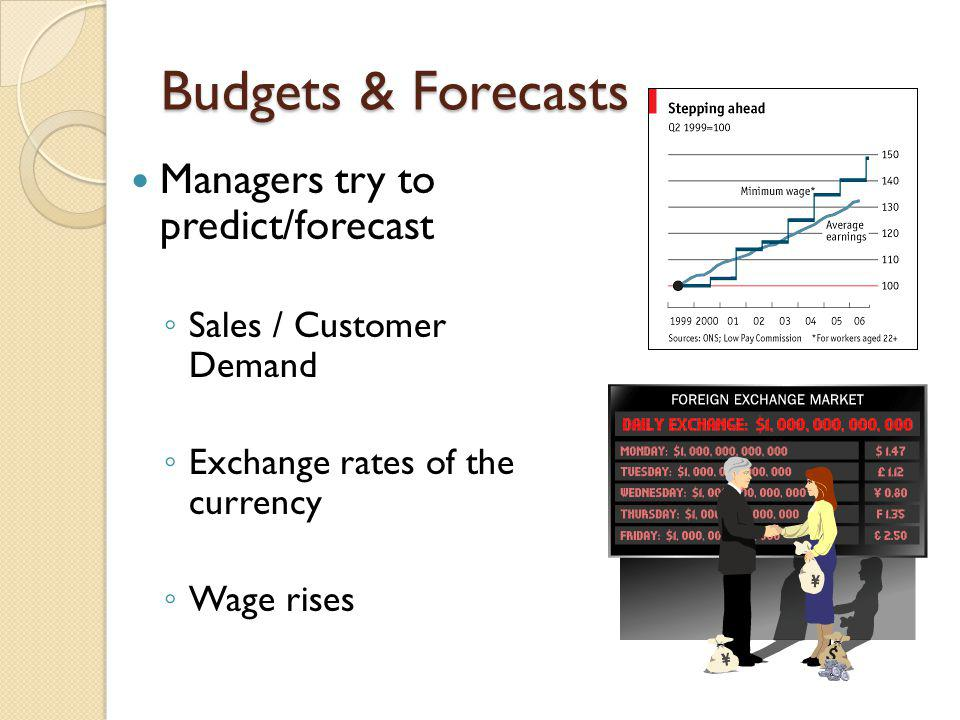 Budgets & Forecasts Managers try to predict/forecast
