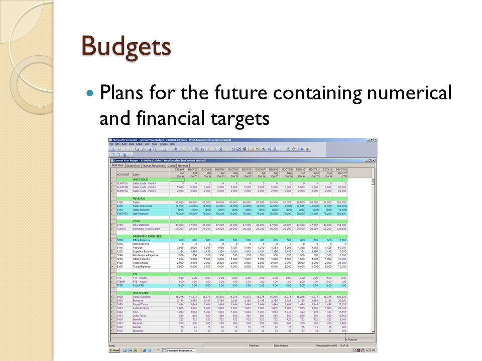 Budgets Plans for the future containing numerical and financial targets
