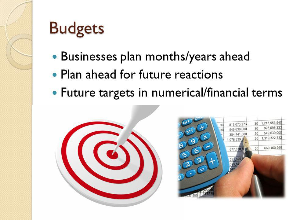 Budgets Businesses plan months/years ahead