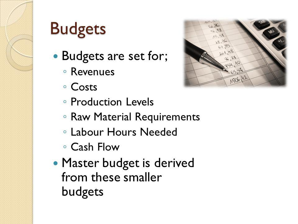 Budgets Budgets are set for;