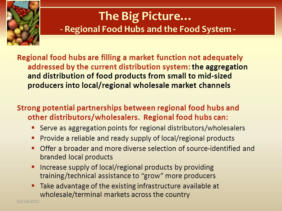 The Big Picture… - Regional Food Hubs and the Food System -