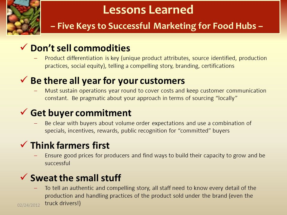 Lessons Learned – Five Keys to Successful Marketing for Food Hubs –