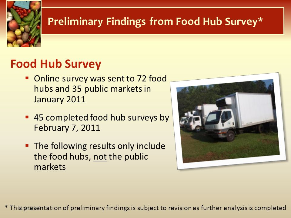 Preliminary Findings from Food Hub Survey*