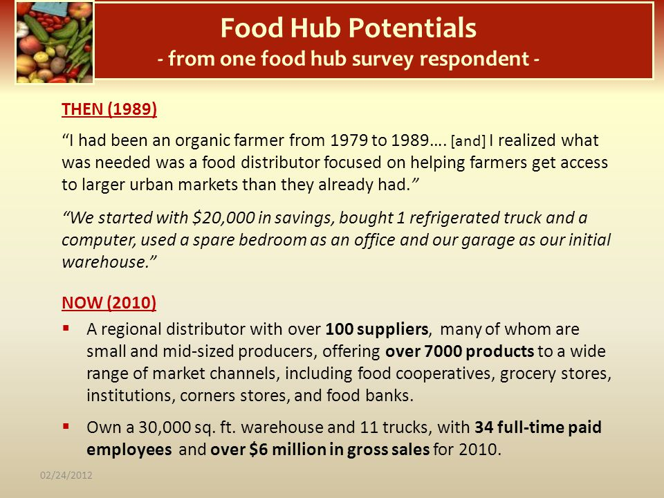 Food Hub Potentials - from one food hub survey respondent -
