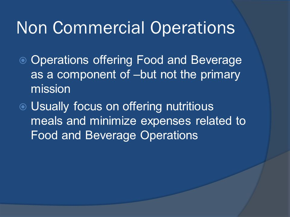 Non Commercial Operations