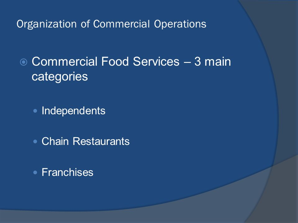 Organization of Commercial Operations