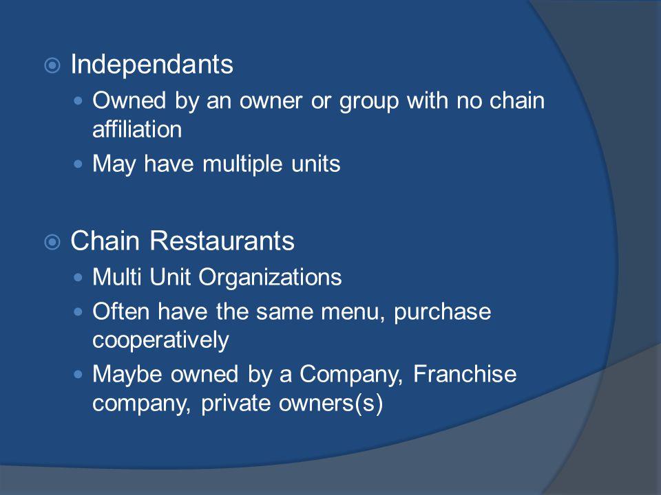 Independants Chain Restaurants