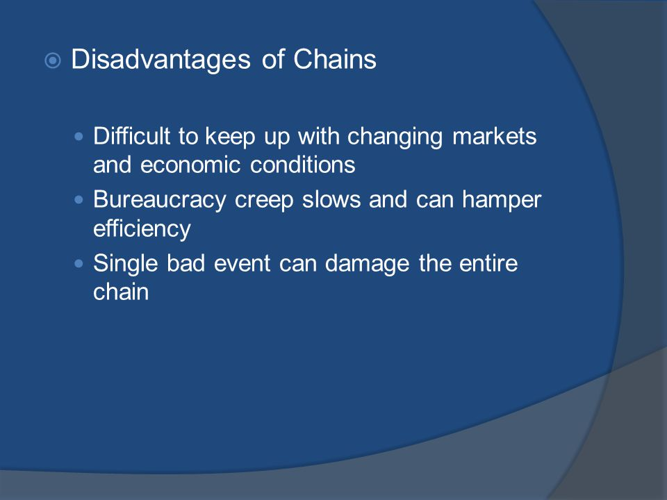 Disadvantages of Chains