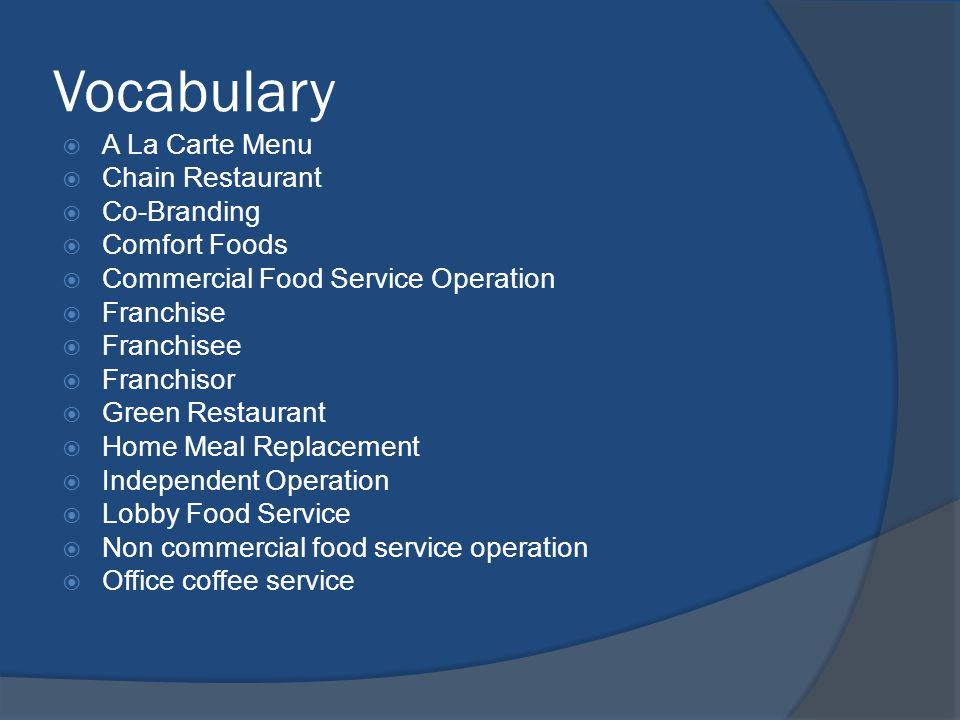 Vocabulary A La Carte Menu Chain Restaurant Co-Branding Comfort Foods