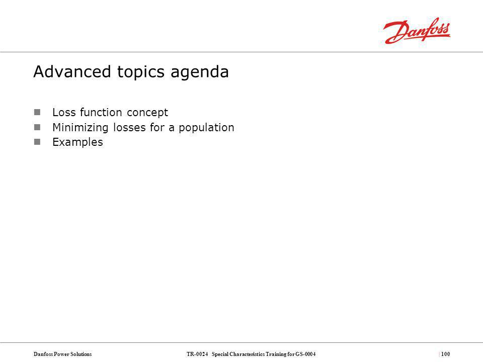 Advanced topics agenda
