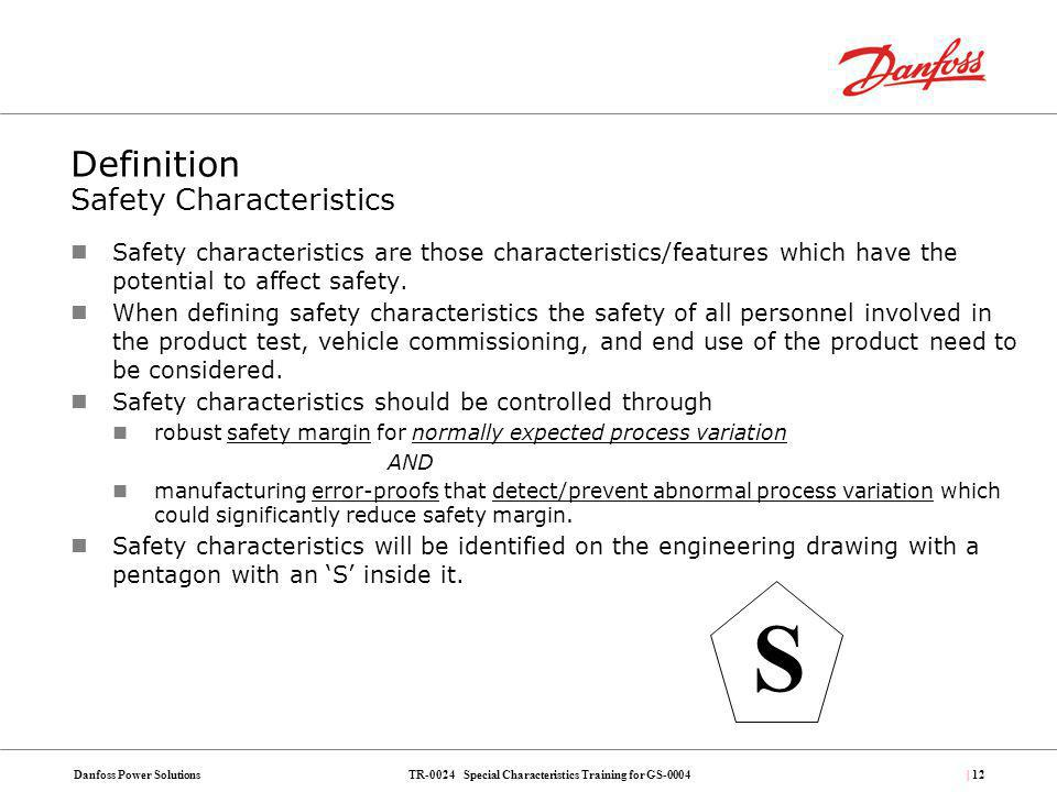 Definition Safety Characteristics