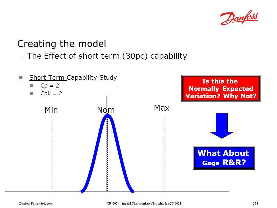 Creating the model - The Effect of short term (30pc) capability