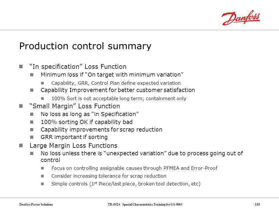 Production control summary