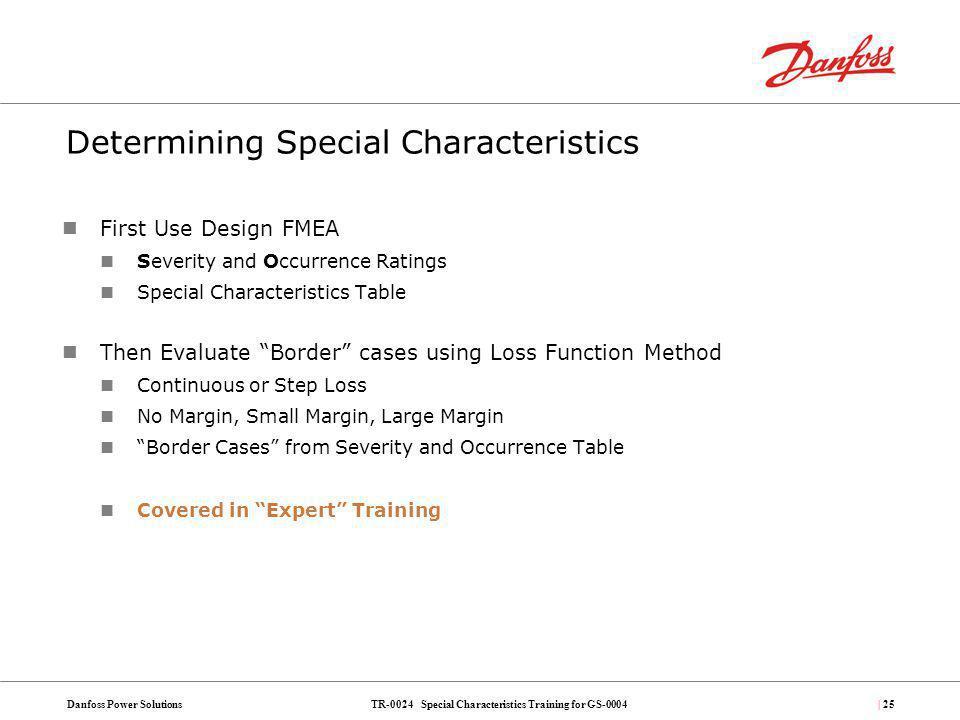 Determining Special Characteristics