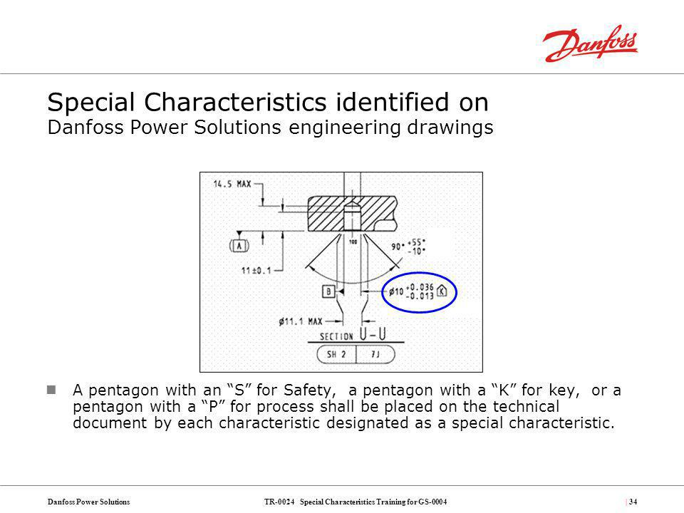 Special Characteristics identified on Danfoss Power Solutions engineering drawings