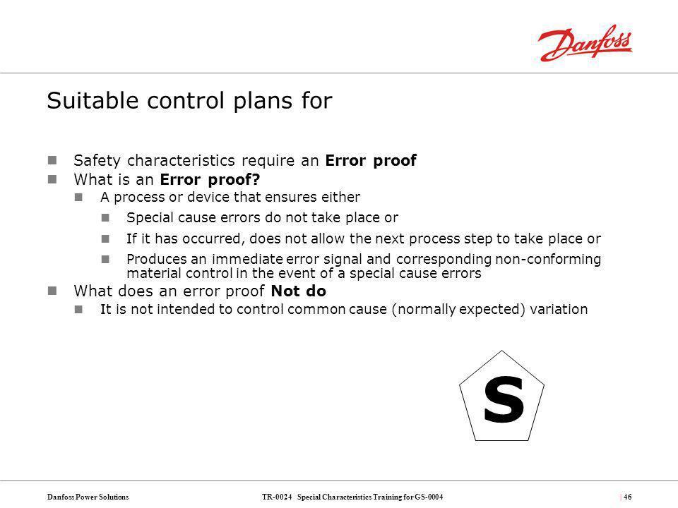 Suitable control plans for