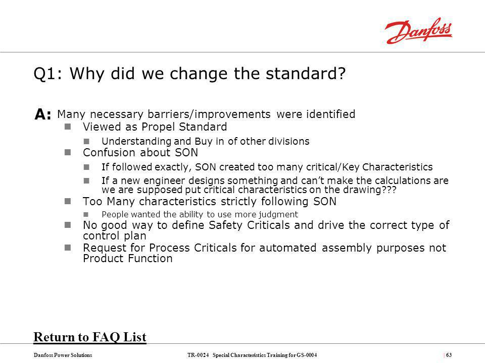 Q1: Why did we change the standard