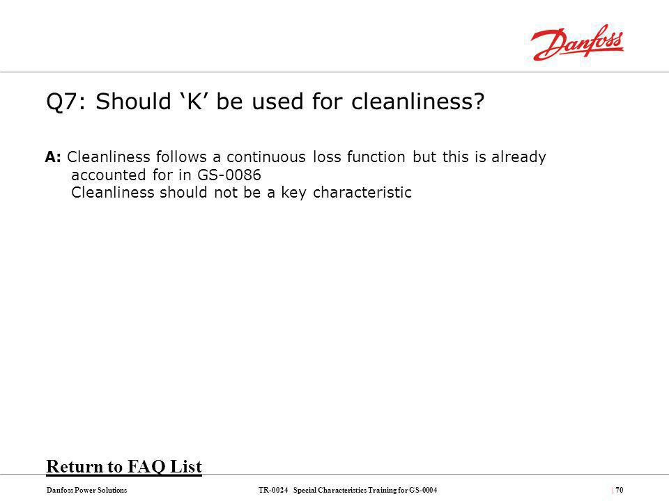 Q7: Should 'K' be used for cleanliness