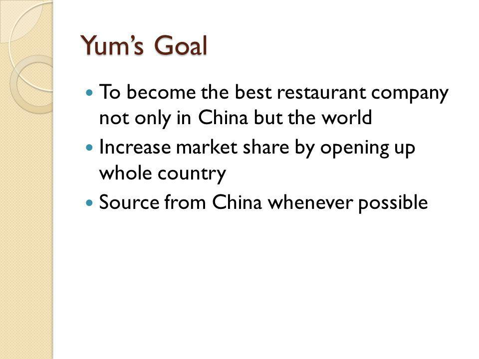Yum's Goal To become the best restaurant company not only in China but the world. Increase market share by opening up whole country.