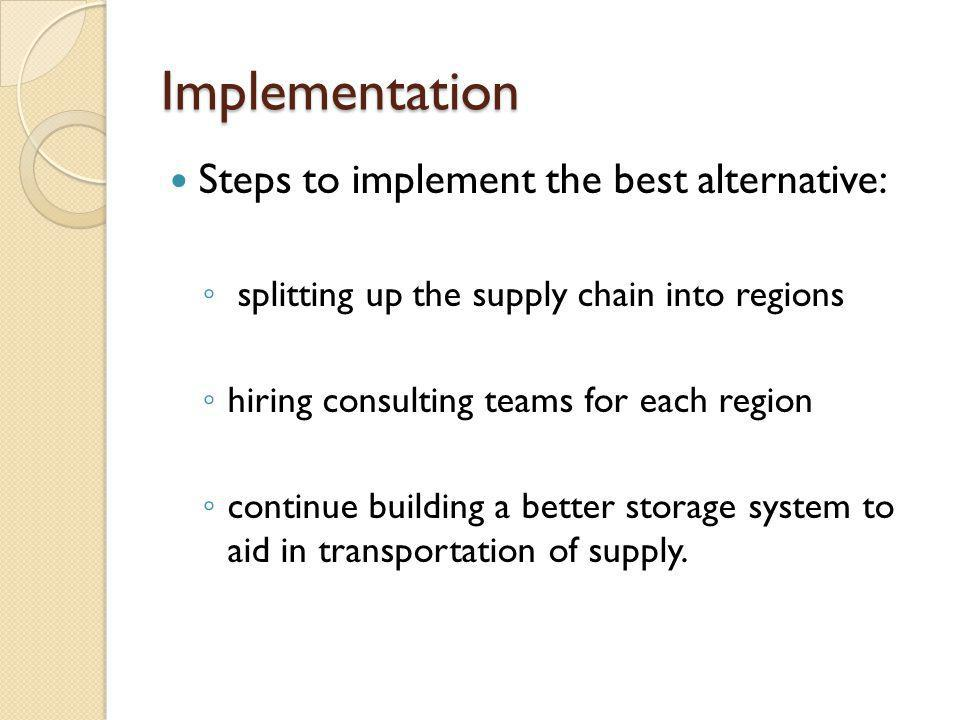 Implementation Steps to implement the best alternative: