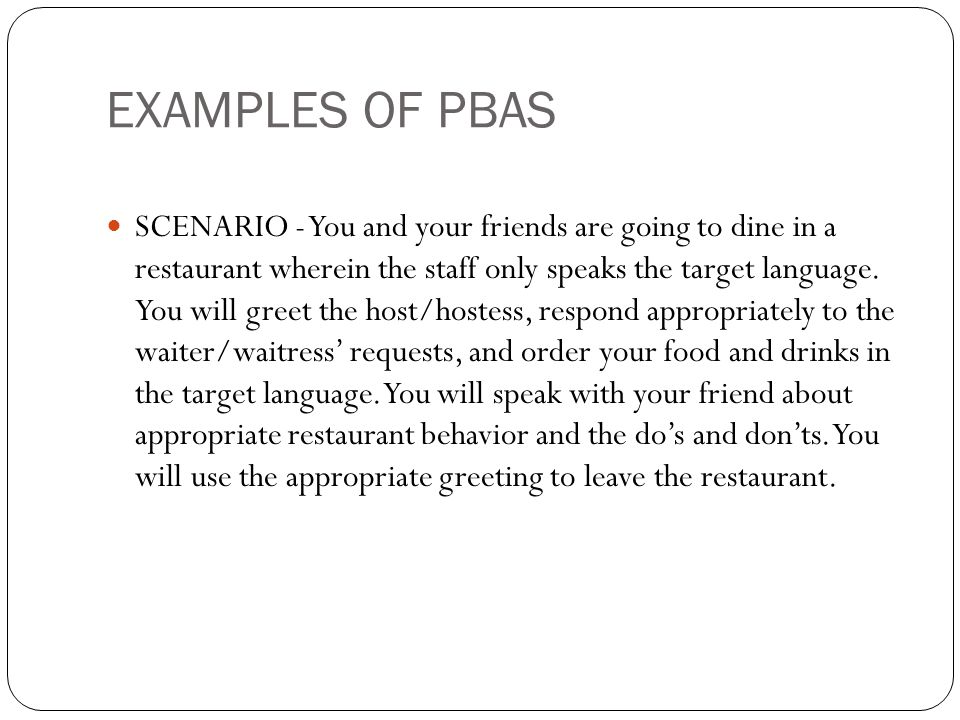EXAMPLES OF PBAS