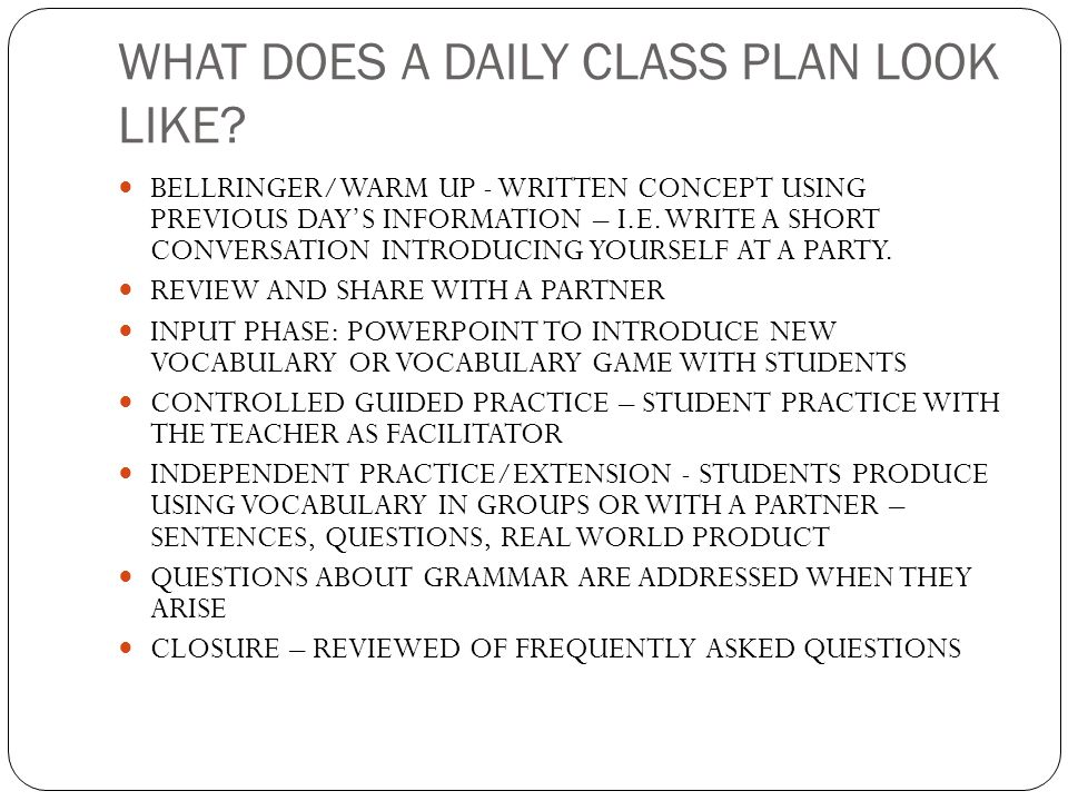 WHAT DOES A DAILY CLASS PLAN LOOK LIKE