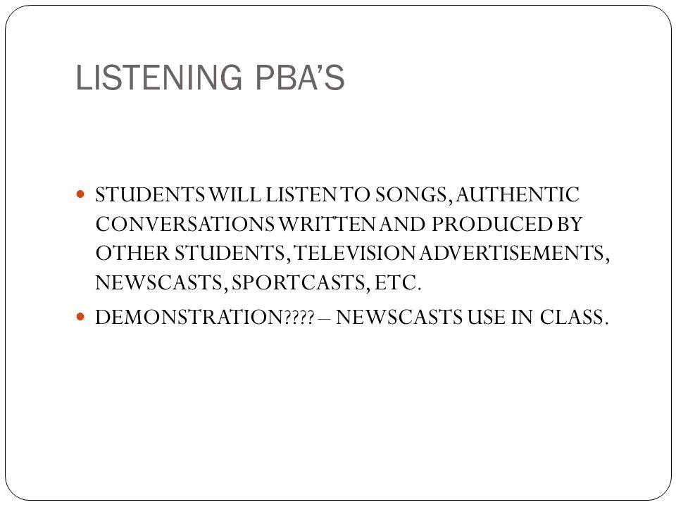LISTENING PBA'S