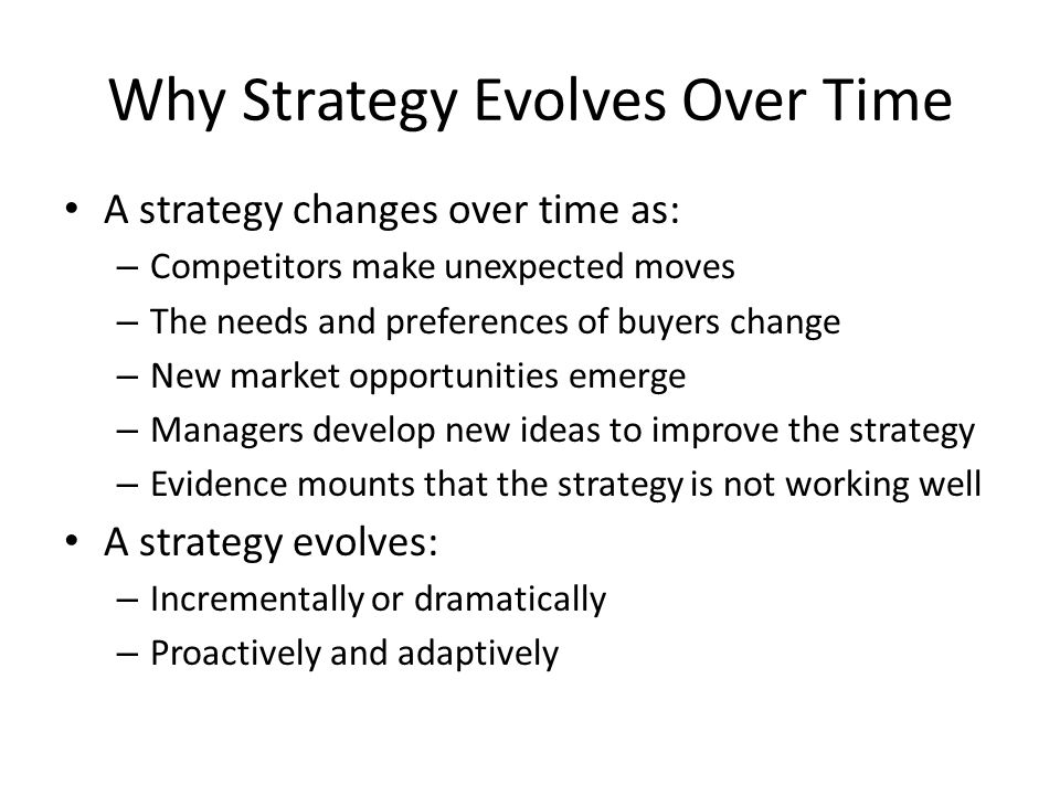 Why Strategy Evolves Over Time