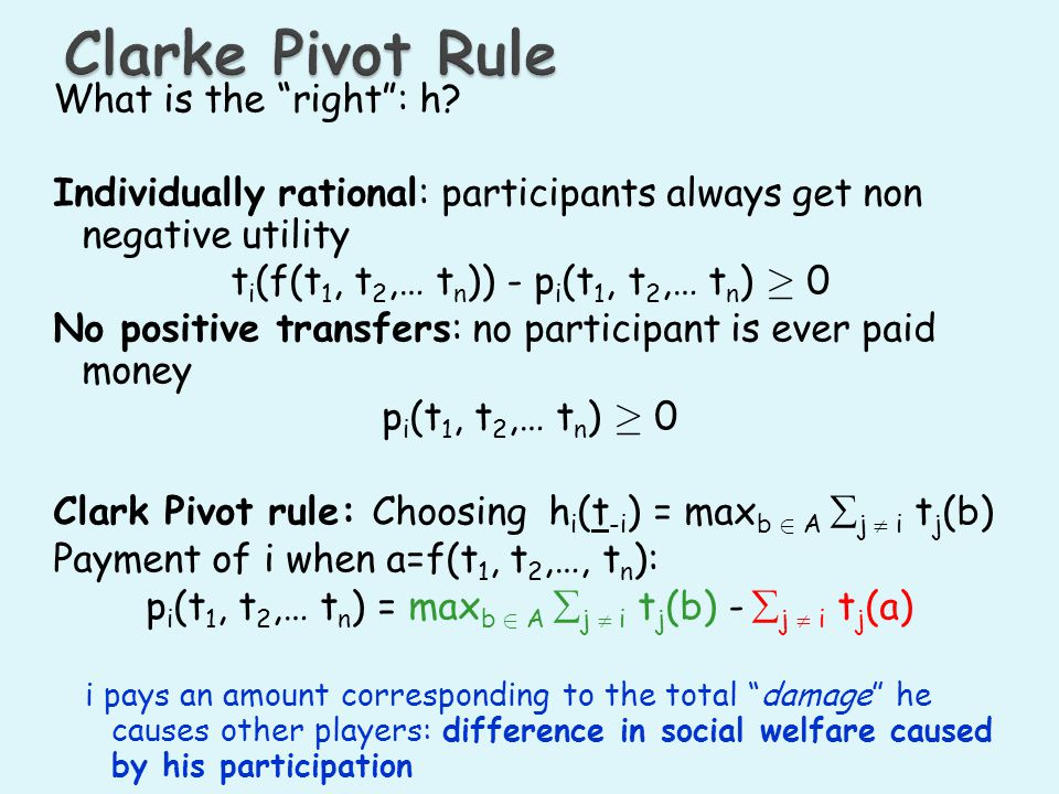 Clarke Pivot Rule What is the right : h