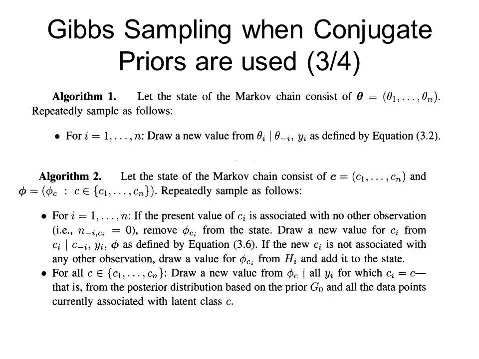Gibbs Sampling when Conjugate Priors are used (3/4)