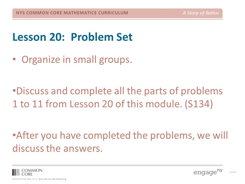 Lesson 20: Problem Set Organize in small groups.