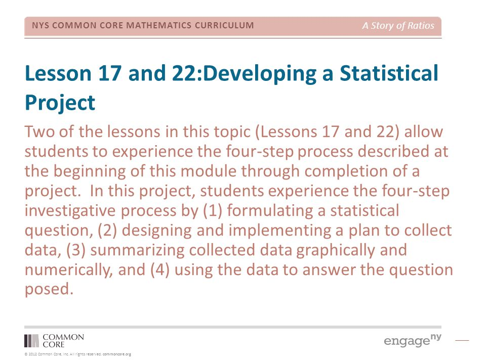 Lesson 17 and 22:Developing a Statistical Project