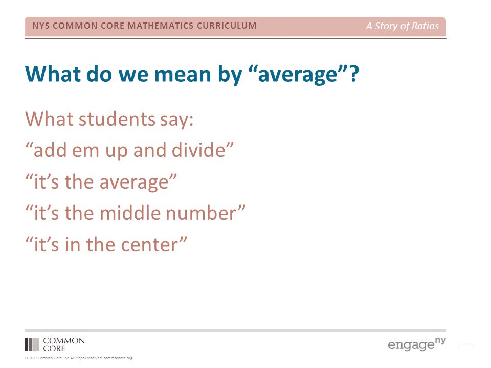 What do we mean by average