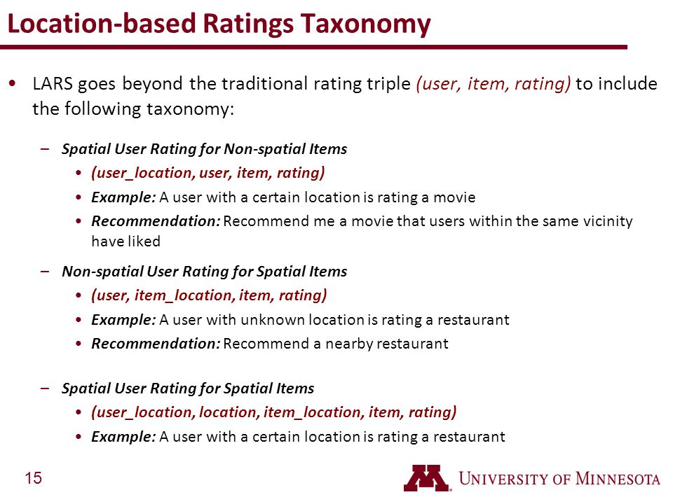 Location-based Ratings Taxonomy