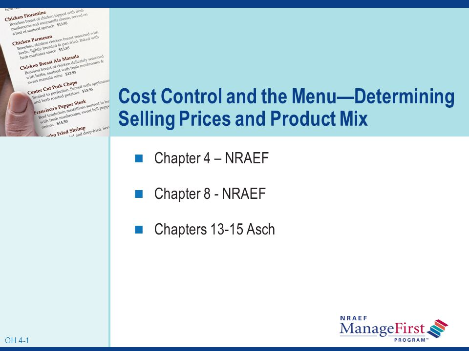 Cost Control and the Menu—Determining Selling Prices and Product Mix