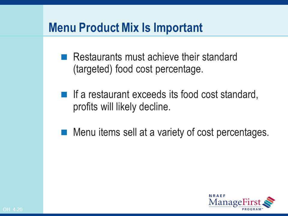Menu Product Mix Is Important