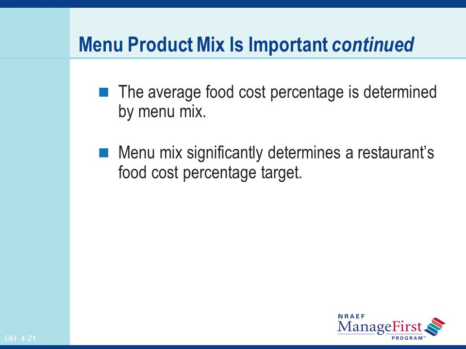Menu Product Mix Is Important continued