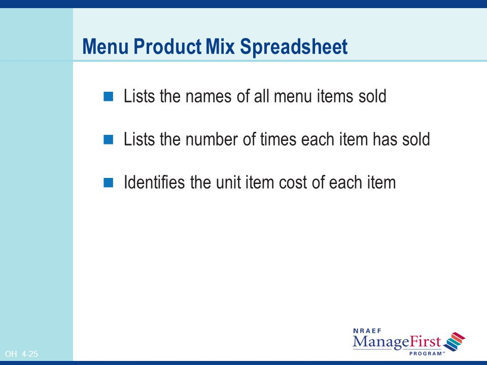 Menu Product Mix Spreadsheet