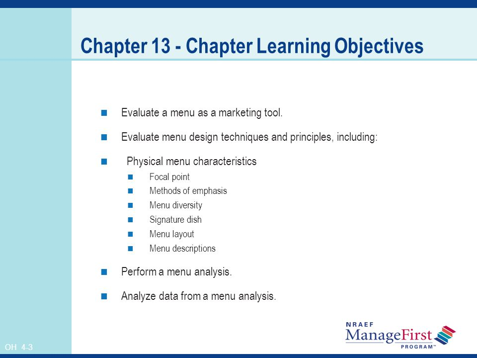 Chapter 13 - Chapter Learning Objectives