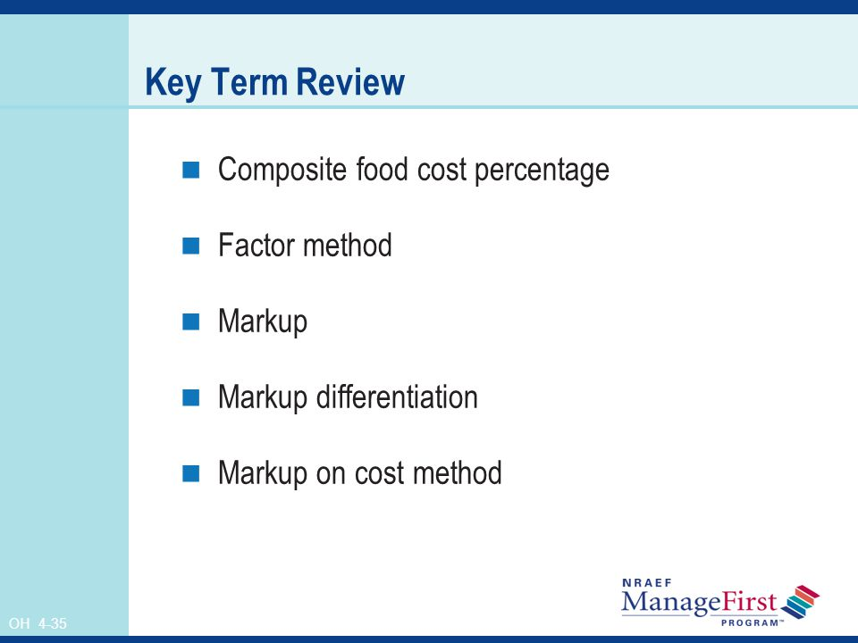 Key Term Review Composite food cost percentage Factor method Markup