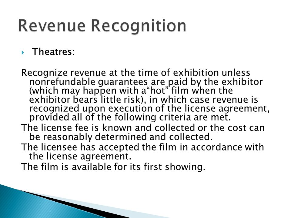 Revenue Recognition Theatres: