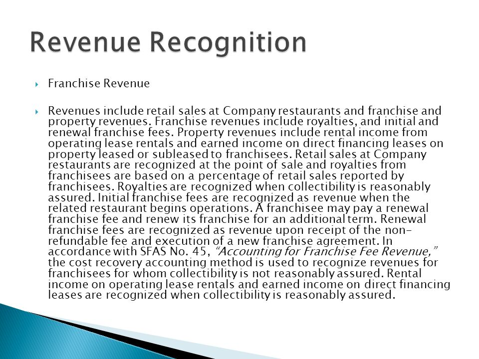 Revenue Recognition Franchise Revenue