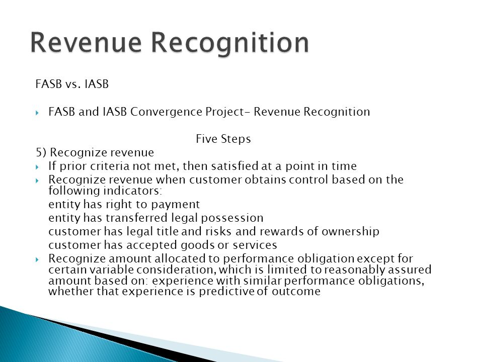 Revenue Recognition FASB vs. IASB