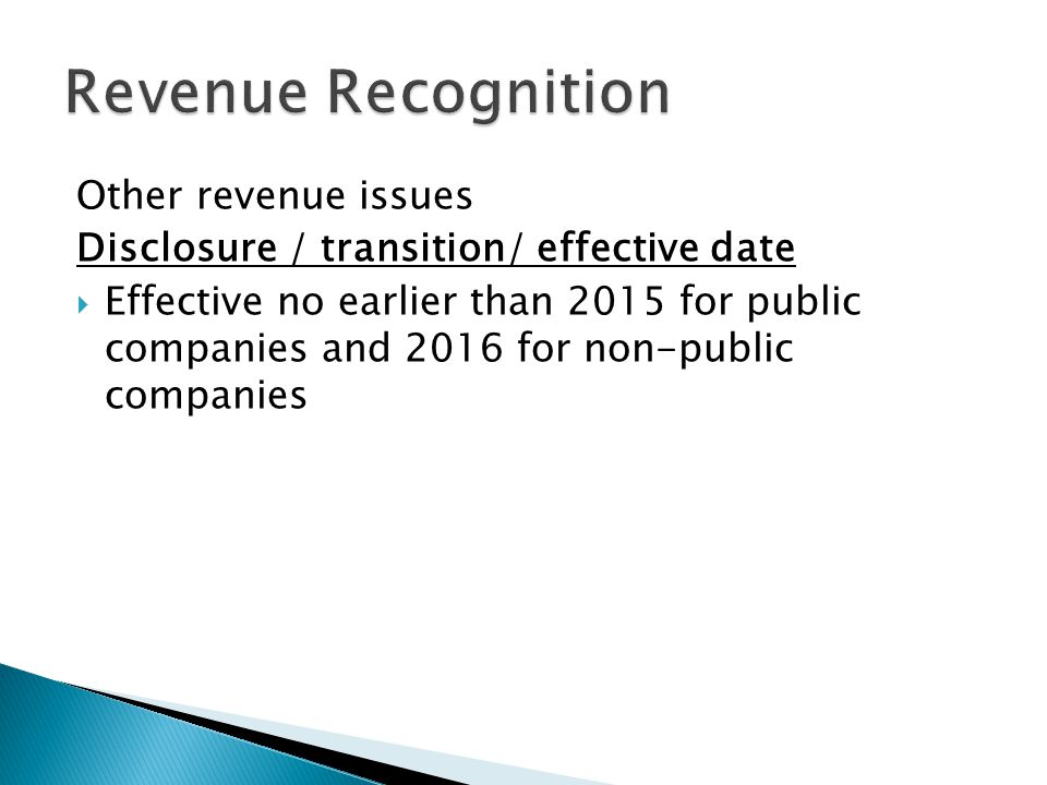 Revenue Recognition Other revenue issues