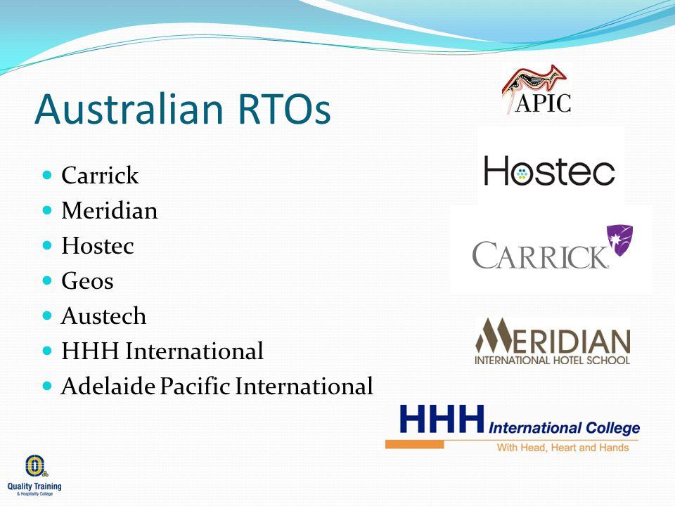 Australian RTOs Carrick Meridian Hostec Geos Austech HHH International