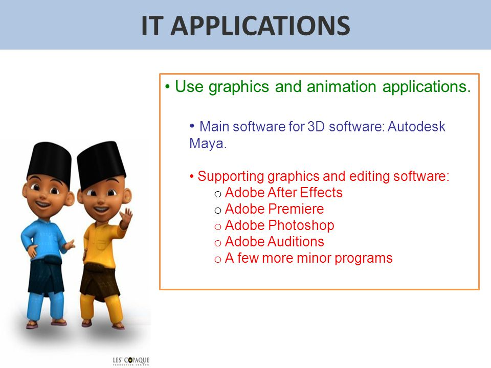 IT APPLICATIONS Use graphics and animation applications.